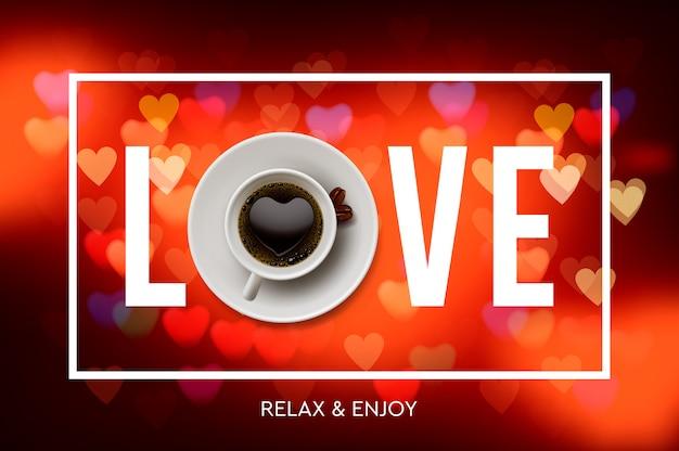 コーヒーが大好きです。一杯のコーヒー、赤いハート、イラストから背景をぼかした写真。