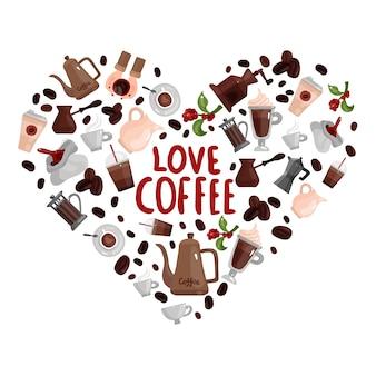 다른 양조 장치로 구성된 심장 이미지로 사랑 커피 디자인 컨셉