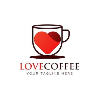 사랑 커피 로고 템플릿 디자인 벡터