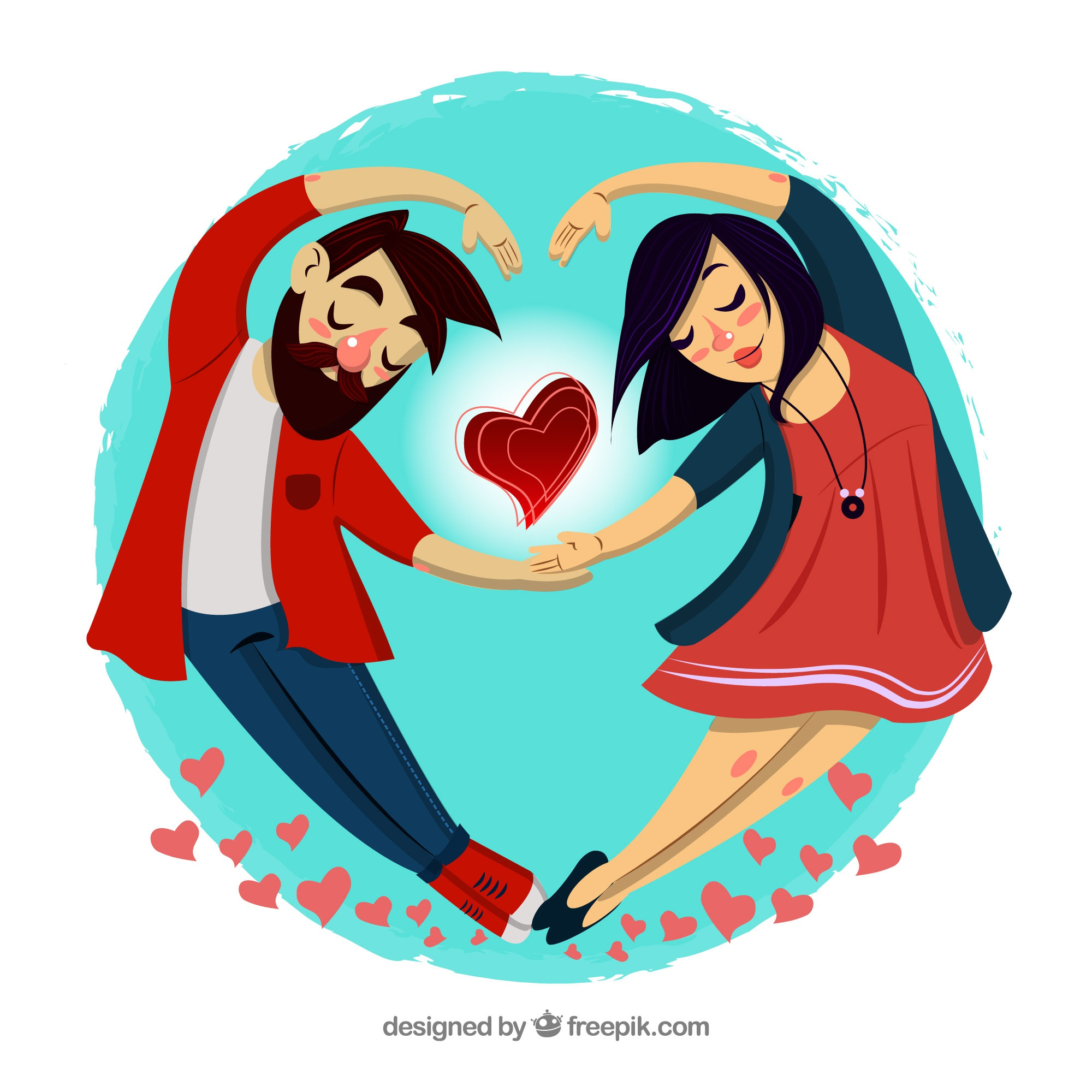 Love composition with young couple