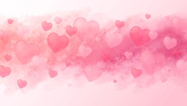 사랑 개념과 마음과 수채화 붓의 발렌타인 배경