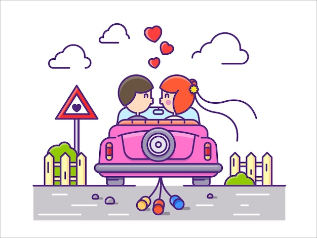 Love concept flat. newlyweds kissing in car with cans.