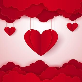 Концепция любви для сложенного сердца в небе в стиле бумажного искусства