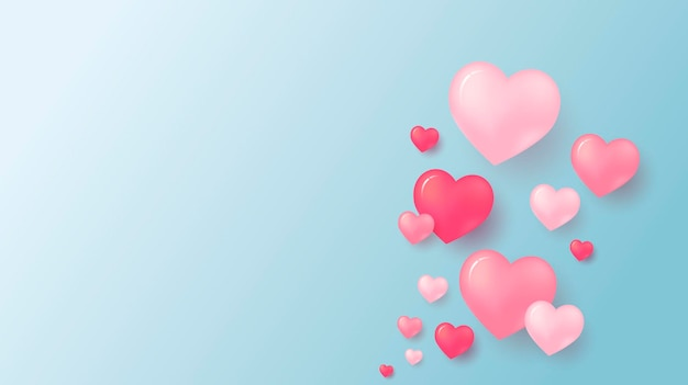 Love concept and valentine's day  of pink hearts with copy space