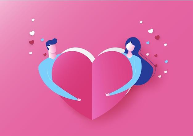 Концепция любви, розовый день святого валентина. вырезанные из бумаги сердечки
