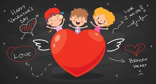 漫画のキャラクターとの愛の概念