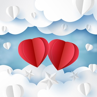 Love concept with clouds and sky paper art style