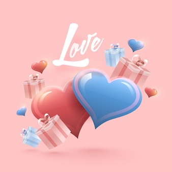 パステルピンクの背景に飾られたギフトボックスと光沢のあるハートと愛のコンセプト。