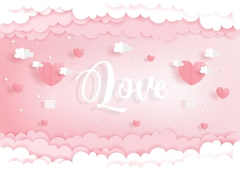 Love concept with heart balloons in paper cut style