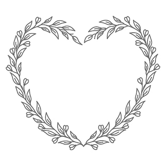 Love concept with line art floral   heart illustration