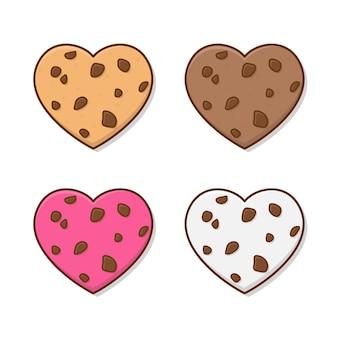 Любовь печенье иллюстрации. набор вкусного печенья в плоский