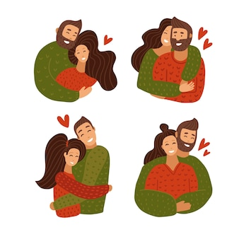 커플 캐릭터 포옹 세트를 사랑 해요. 행복한 연인 관계 기념일.