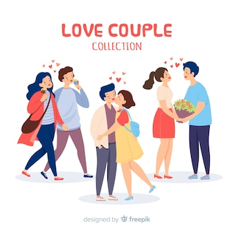 Love couple collection with hearts