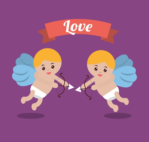 Love couple cupid bow arrow banner