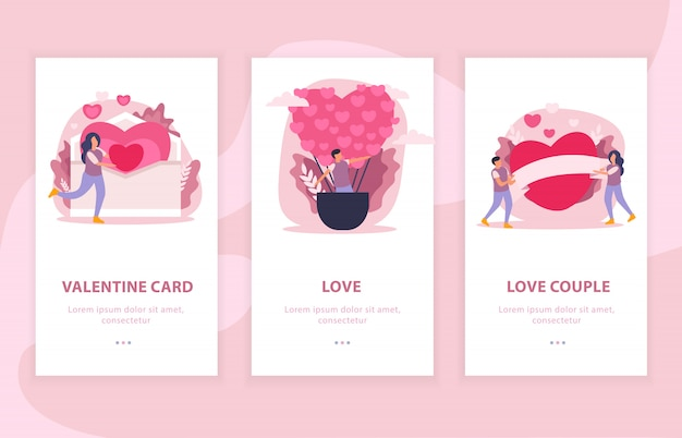 Love couple flat composition banner set with valentine card and love descriptions illustration