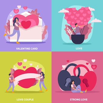 Love couple flat icon set with valentine card couple and strong love description illustration