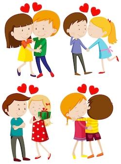 Любовь пара обниматься и целоваться Premium векторы