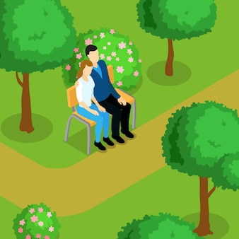 Love couple isometric composition