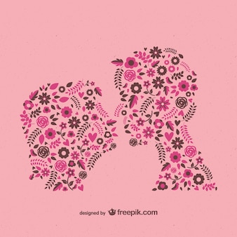 In love couple kissing made of flowers
