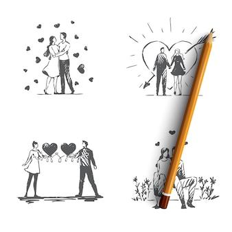사랑의 부부 사랑의 로맨틱 커플 야외 산책과 포옹 그림