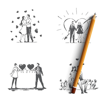 Love couple loving romantic couple walking outdoor and hugging illustration