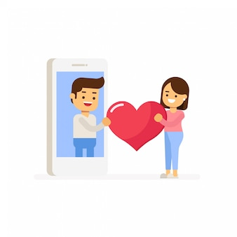 Love couple in mobile phone sent pink heart and love gift.design for valentine's day festival