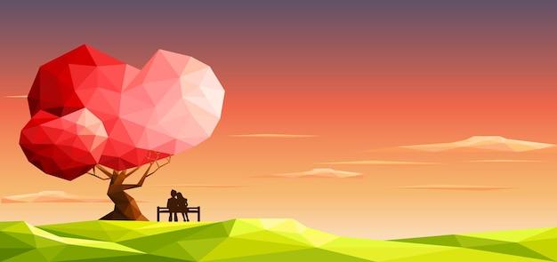 愛の木の下のベンチでカップルを愛します。バレンタインデーの概念。多角形