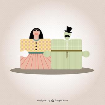 Love couple puzzle elements