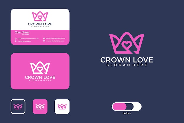Love crown logo design and business card