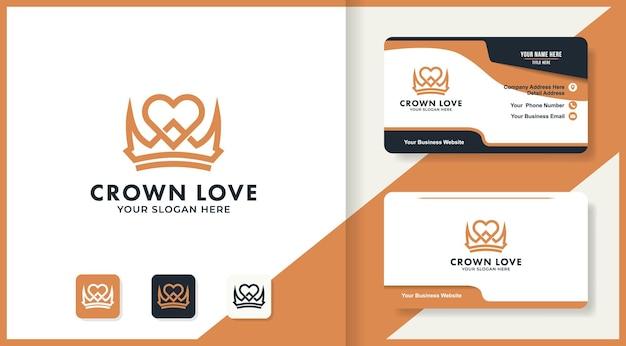 사랑 왕관 로고 디자인은 모노 라인 개념과 명함을 사용합니다.