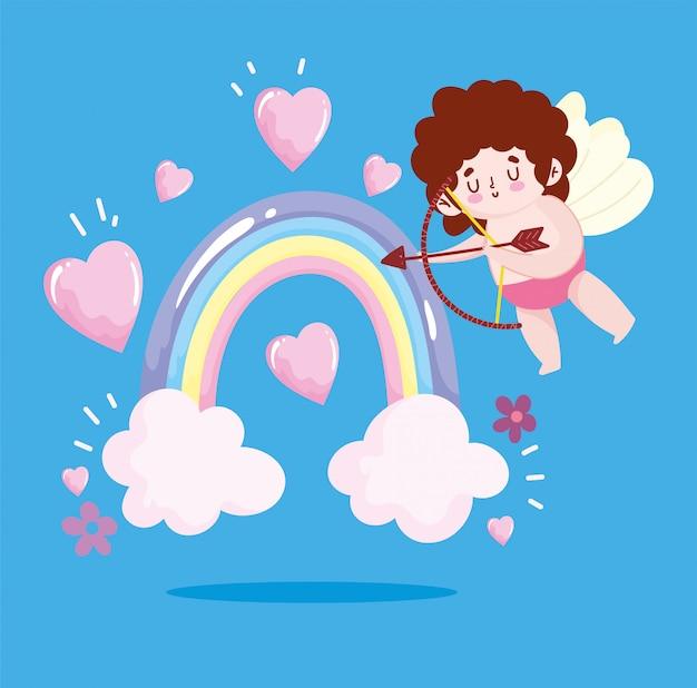 Любовный амур с луком и стрелами радужные сердца очаровательный романтический мультфильм