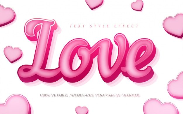 Love curly text style effect for valentines day