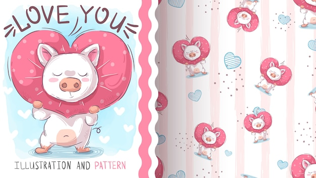 Love cute pig - seamless pattern