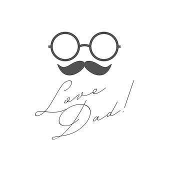Папа любви простой рукописный, день отца карты. с днем отца.