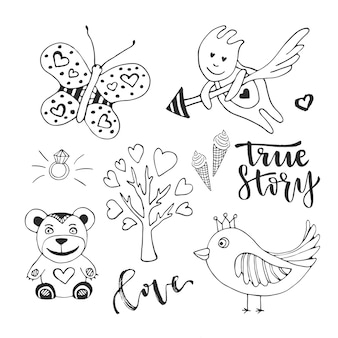 Love day set of cute doodle sketch design elements