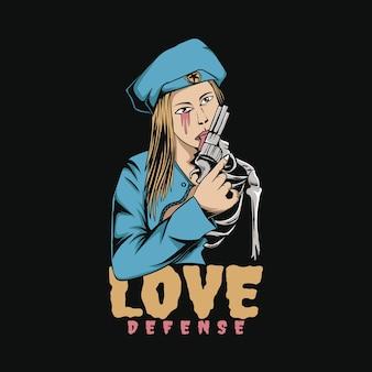 愛の防衛女性ポップアートイラストtシャツデザイン