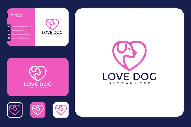 Love dog with line logo design and business card style