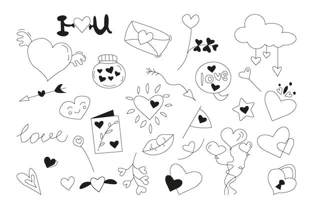 Набор элементов любви каракули. концепция дня святого валентина. рука нарисованные векторные иллюстрации