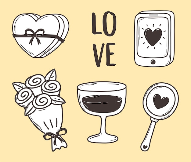 Love doodle icon set gift flower mobile mirror decoration