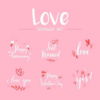 Love doodle set typography vectors