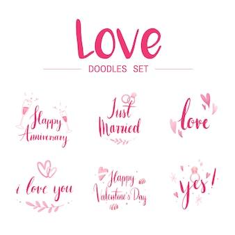 Love doodle set типографские векторы