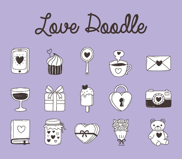 Love doodle smartphone cupcake gift padlock bear camera ice cream and more icon collection