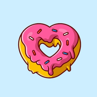 도넛 크림 만화 아이콘 그림을 사랑 해요.