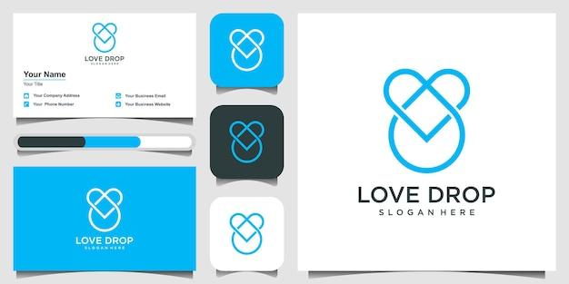 愛のドロップロゴデザインハートはドロップ要素と組み合わせる