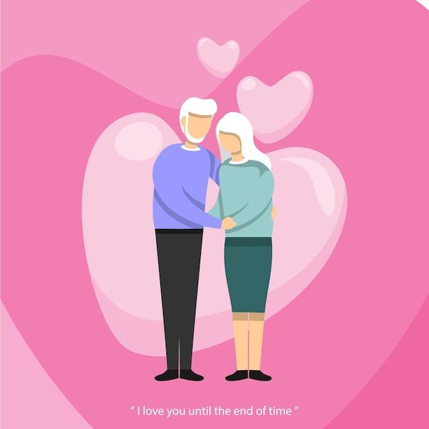 시간이 끝날 때까지 서로 사랑 발렌타인 평면 디자인 일러스트 레이션