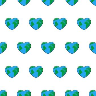 흰색 배경에 지구 원활한 패턴을 사랑 해요. 지구 테마 벡터 일러스트 레이 션을 저장