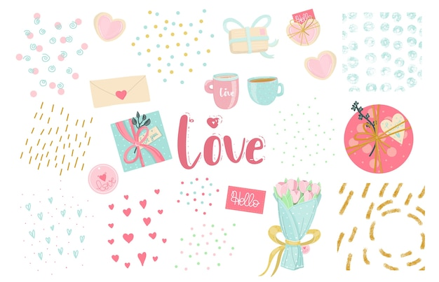 Элементы любви. романтический набор идей для текстур. день святого валентина, свадьба или первый день