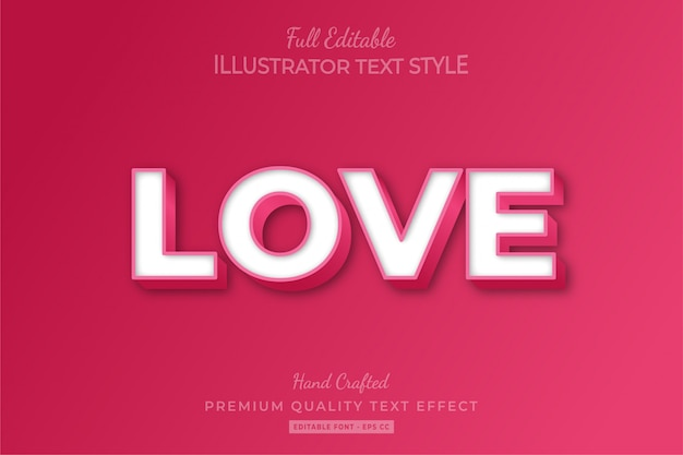 Love embossed editable 3d text style effect premium