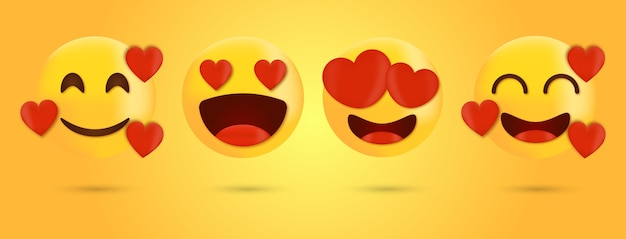 Love emoticon and emoji with heart vector faces set - smile face emoji with heart eyes