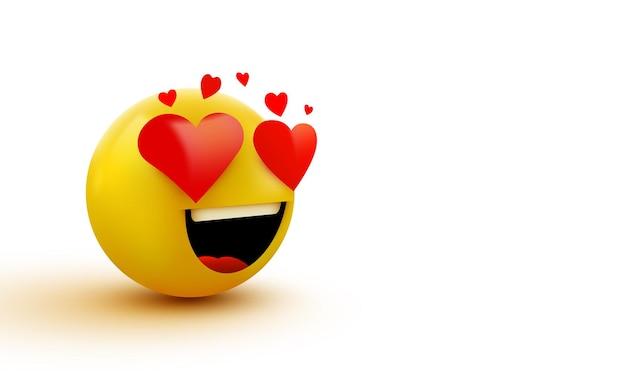 Значок смайлика любви, любовь сердца в глазах